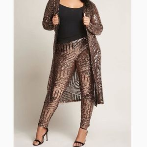 Pants - BLACK AND GOLD SEQUIN LEGGINGS